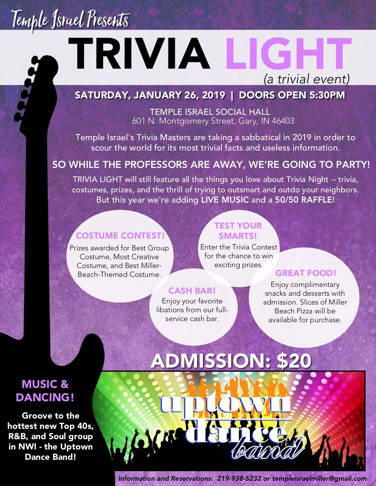 Trivia Light is January 26th, 2019.  Doors open at 5:30 PM