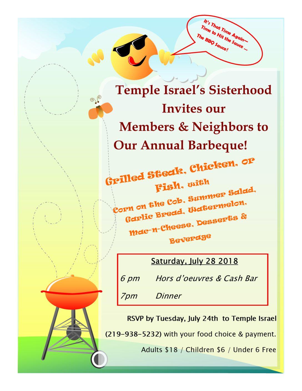 Temple Israel's Annual Sisterhood BBQ