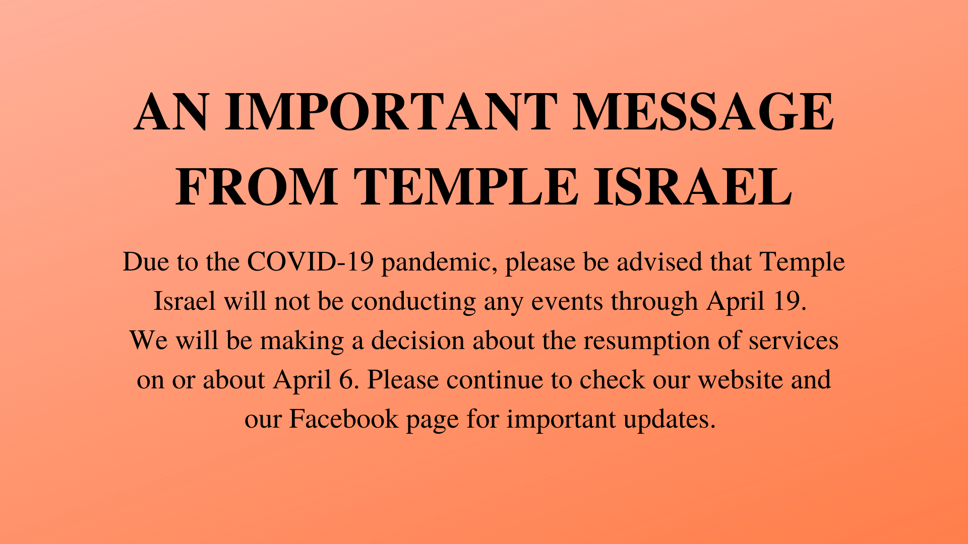 An Important Message From Temple Israel