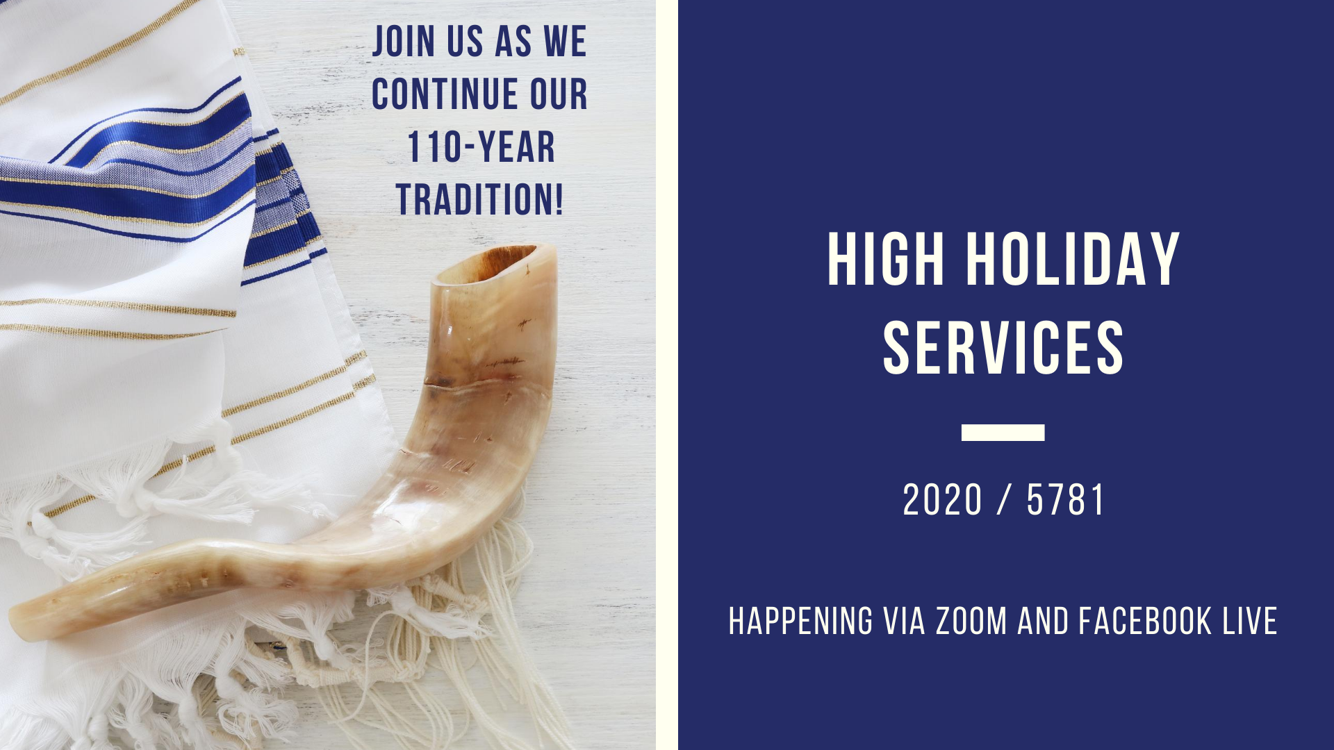 High Holiday Services via Zoom & Facebook Live